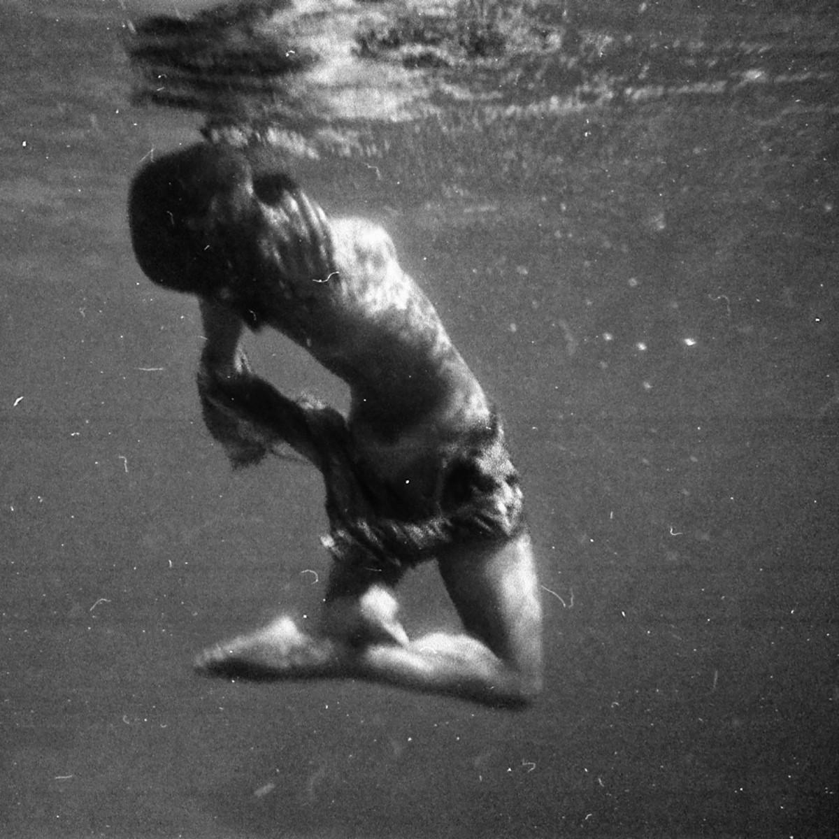 Underwater ballet B&W negative